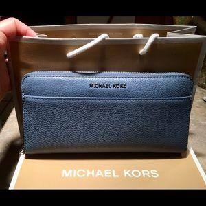 Michael Kors Blue Full Size Zip Around Wallet